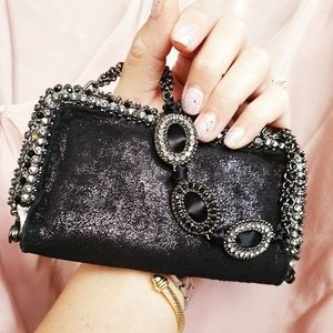 💯 Lixenberg Metallic Suede Black Crystal Bag 🌟